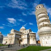 Piazza dei miracoli, with the Basilica and the leaning tower. Pisa, Italy